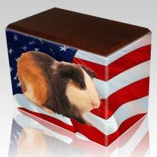US Flag Walnut Pet Picture Urn III