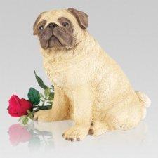 White Pug Cremation Urn