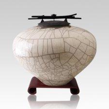 Raku White Large Cremation Urn