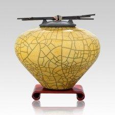 Raku Yellow Large Cremation Urn