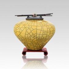 Raku Yellow Small Cremation Urn
