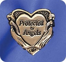 Protected By Angels Lapel Pin in Gold