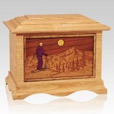 Skiing Oak Cremation Urn