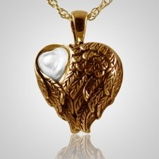 Wings Mother of Pearl Heart Pendant IV