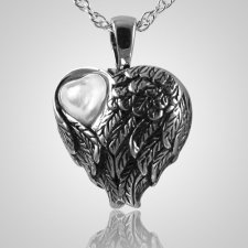 Wings Mother of Pearl Heart Pendant III