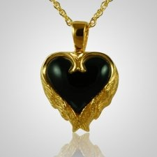 Angel Wings Onyx Heart Keepsake Pendant IV