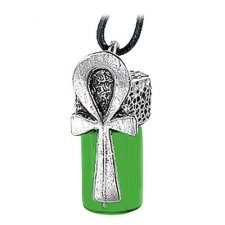 Life Ankh Green Glass Cremation Keepsake