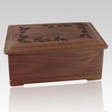 Autumn Leaves Wood Cremation Urn II