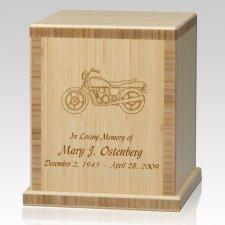 Motorcycle Bamboo Natural Cremation Urn