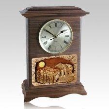 Bear Clock Walnut Cremation Urn