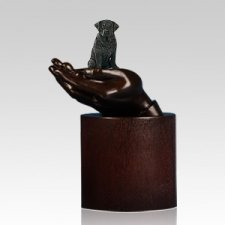 Black Labrador Hands Dog Cremation Urn