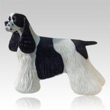 Black & White Cocker Dog Cremation Urn