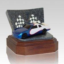 Blue Race Car Keepsake Cremation Urn