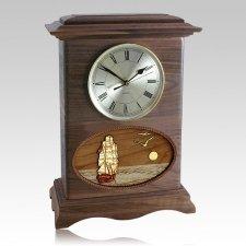 Boat Clock Walnut Cremation Urn