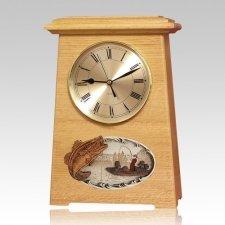 Boat Fishing Astoria Clock Oak Cremation Urn
