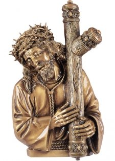 Jesus Caring the Cross Wall Bronze Statues
