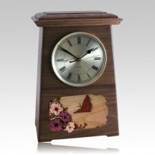 Butterfly Astoria Clock Walnut Cremation Urn