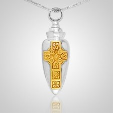 Celtic Gold Cross Cremation Pendant