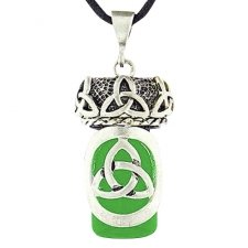 Celtic Trinity Green Glass Cremation Necklace