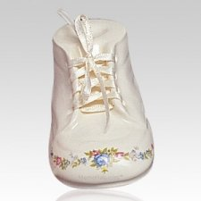 White Baby Bootie Infant Cremation Urn
