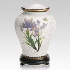 White Iris Large Cloisonne Urn