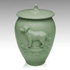 Doggy Tea Green Ceramic Cremation Urn