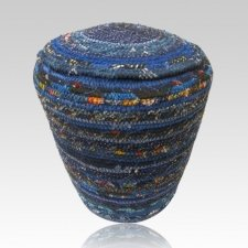 Blue Cotton Fabric Cremation Urn