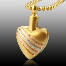 Tri Color Heart Cremation Jewelry