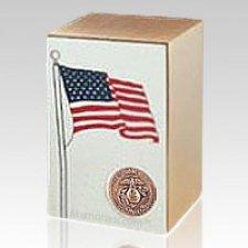 Marine Bronze Flag Cremation Urn