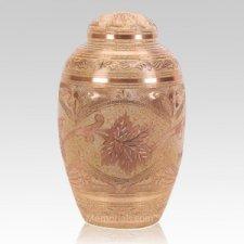 Cream Leaf Cremation Urn