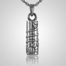 Cylinder with Paws Cremation Jewelry III