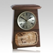 Deer Astoria Clock Walnut Cremation Urn