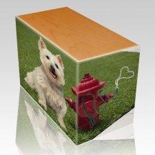 Fire Hydrant Oak Pet Picture Urn III