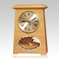 Dolphins Astoria Clock Oak Cremation Urn
