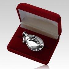 Grace Flask Silver Keepsake Urn