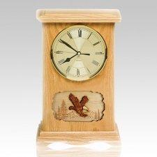Eagle Clock Oak Cremation Urn