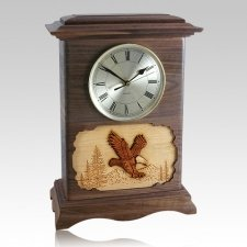 Eagle Clock Walnut Cremation Urn