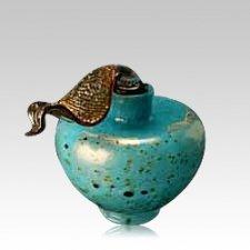 Faldo Turquoise Glass Urn
