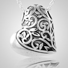 Filigree Sideways Heart Keepsake Pendant