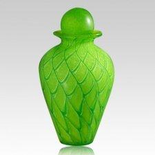 Shining Green Glass Urn