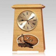 Lighthouse Astoria Clock Oak Cremation Urn
