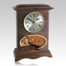 Lighthouse Clock Walnut Cremation Urn