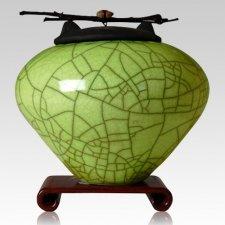 Raku Lime Green Multi Family Cremation Urn