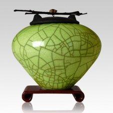 Raku Lime Green Extra Large Cremation Urn