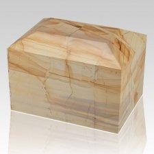 Teakwood Square Large Marble Cremation Urn