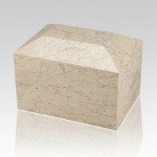 Botticino Square Small Marble Cremation Urn