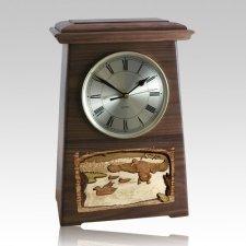 Marshland Astoria Clock Walnut Cremation Urn