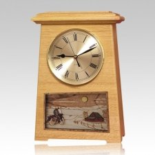 Motorcycle and Cross Astoria Clock Oak Cremation Urn