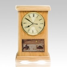 Motorcycle and Farmhouse Clock Oak Cremation Urn