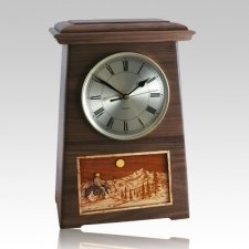 Motorcycle and Moon Astoria Clock Walnut Cremation Urn